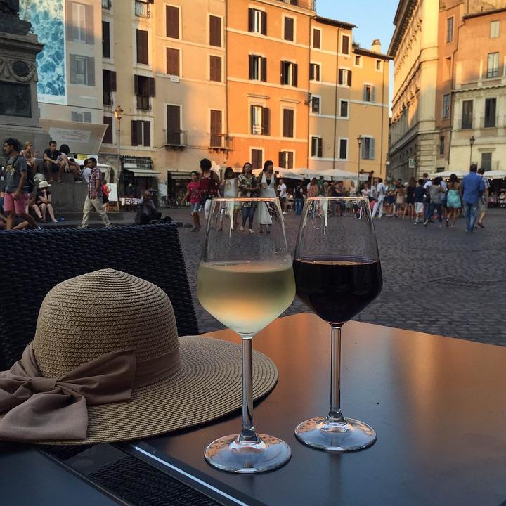 Rome, Café Terrace, Glass, Street, View, Some Wine