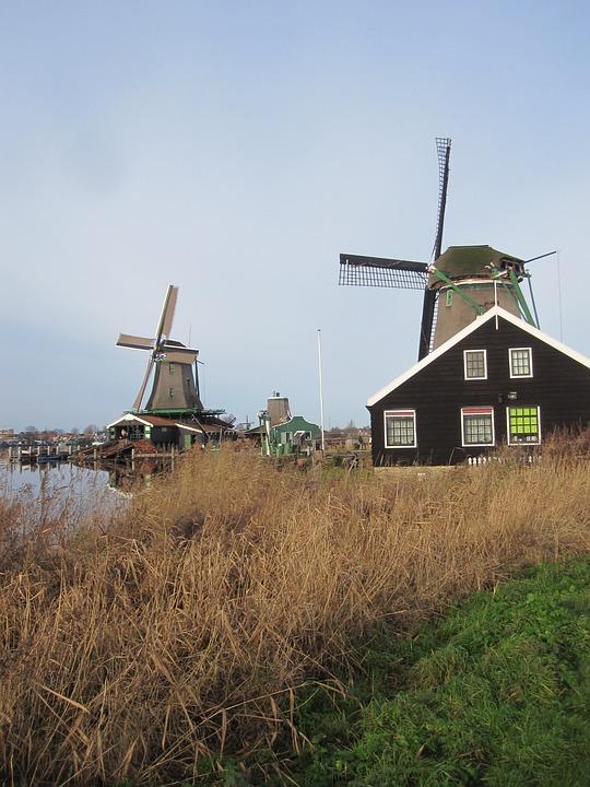 Zaandam, Mills, Zaanse Schans, Water, View, Landscape