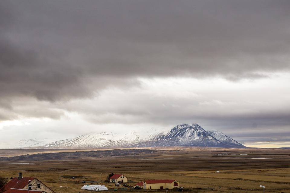 Mountain, Horizon, Iceland, Sky, Clouds, View