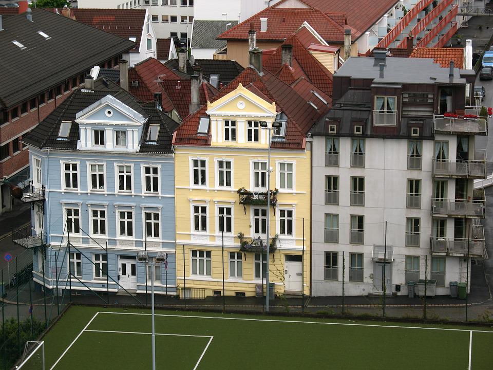 City, Stavanger, Norway, View, Soccer Field, Parking