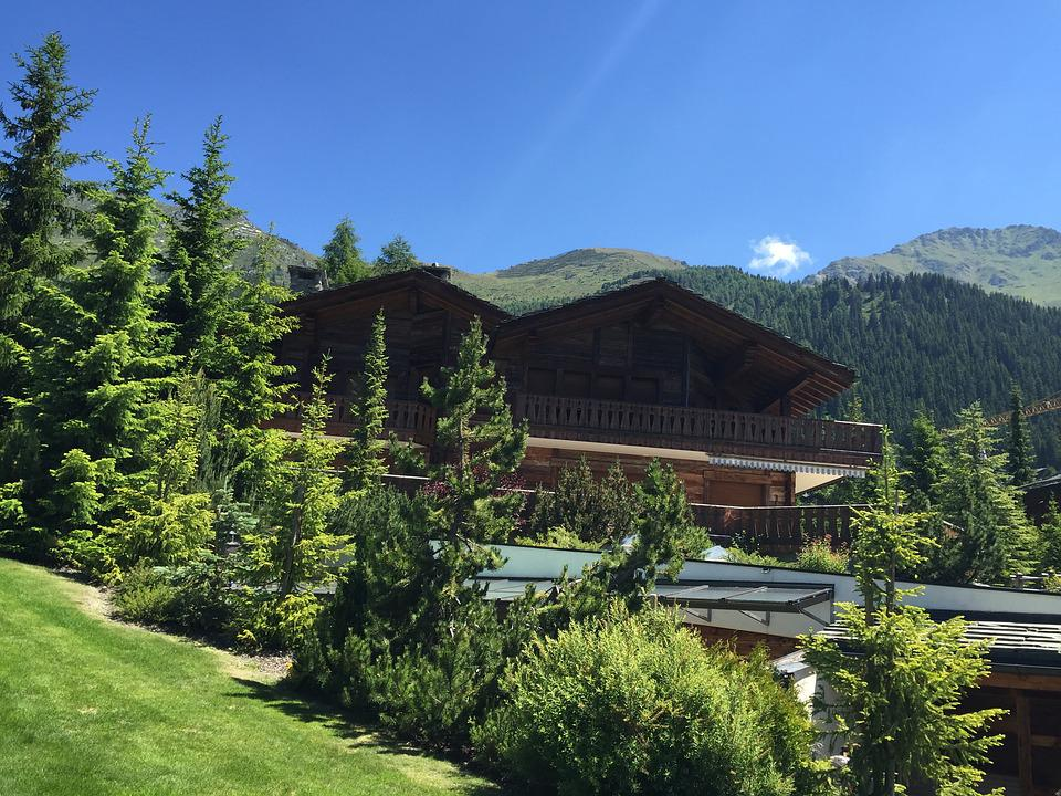 Verbier, Switzerland, Chalet, View, Mountains, Panorama
