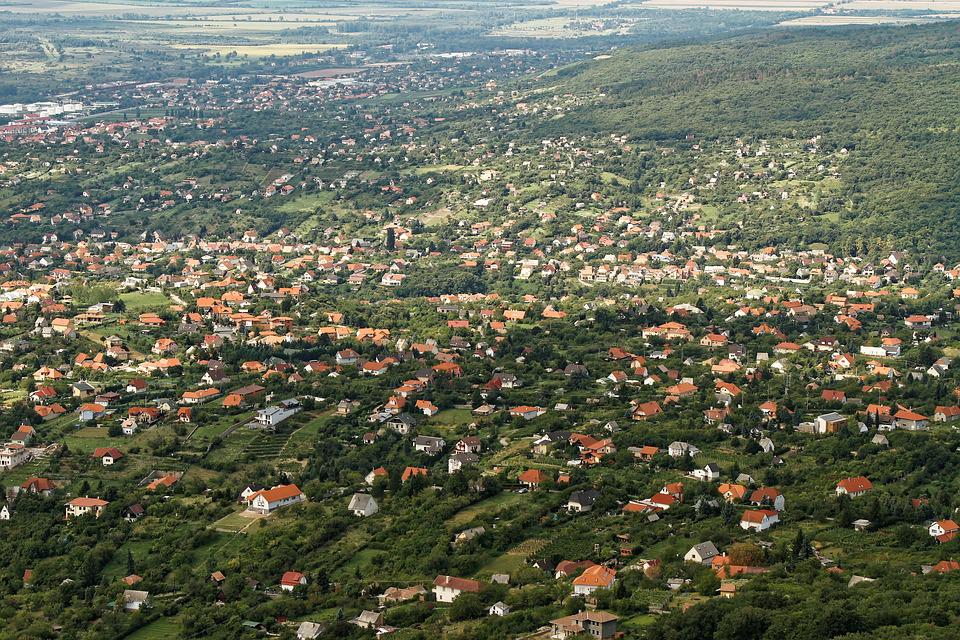 Aerial View, Town, Suburb, Aerial, View, City