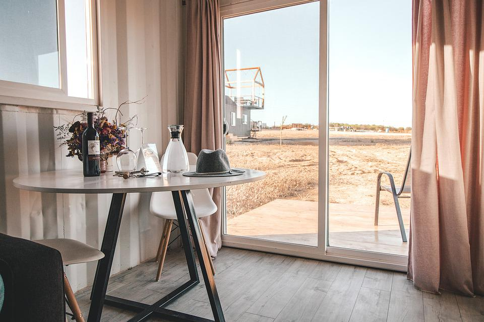 Indoors, Vacation, Table, Evening, Wine, Glasses, View