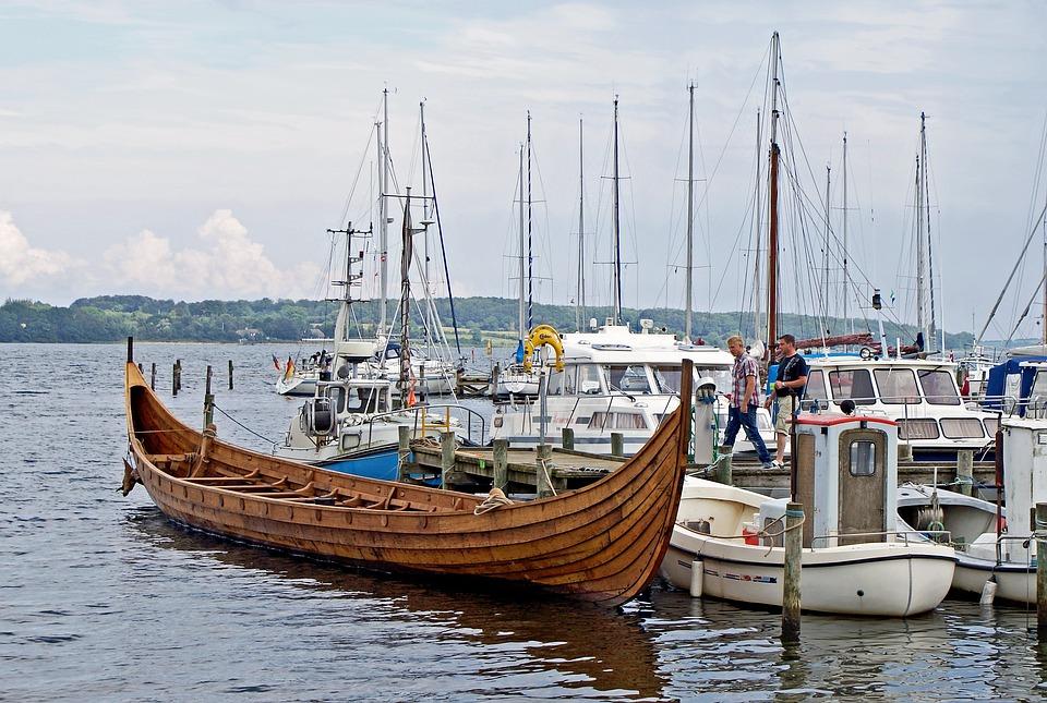 Viking Ship, Port, Harbour, Denmark