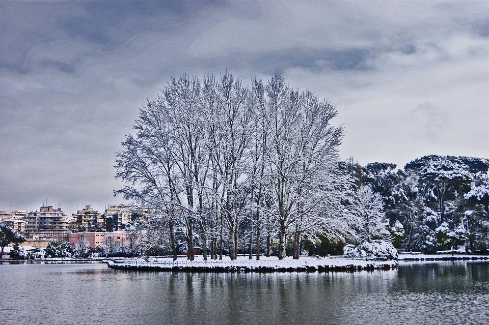 Snow, Rome, Villa Ada, Winter, Italy