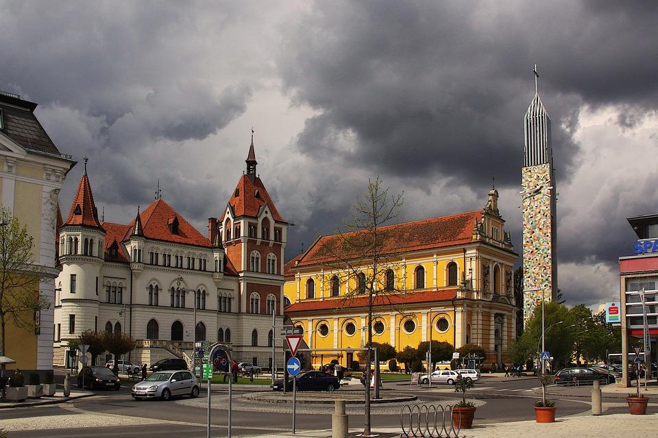 Feldbach, Church, Villa, Dark Clouds