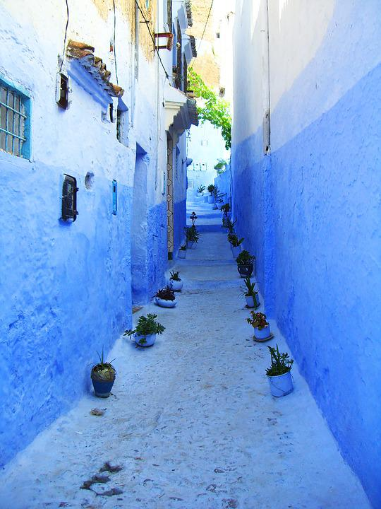Chefchaouen, Morocco, Blue, Alley, Arabic, Village