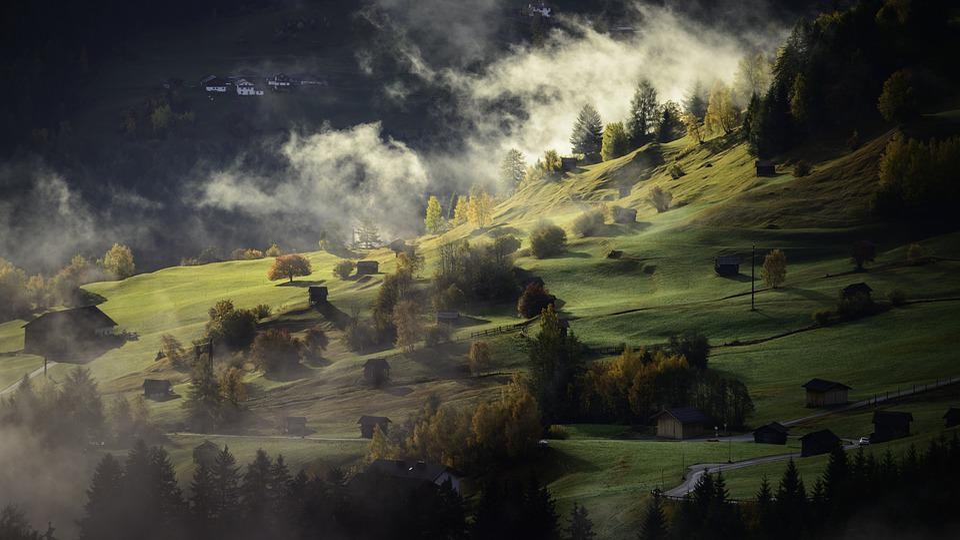 Landscape, Autumn, Fog, Village, Twilight, Afternoon