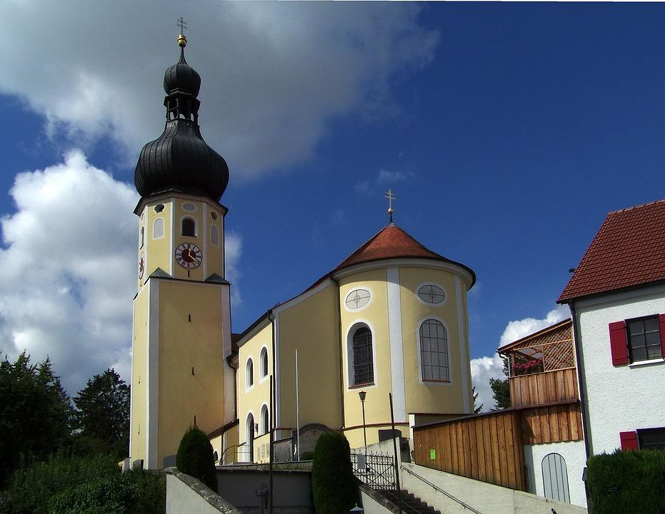 Bavaria, Germany, Church, Building, Village, Faith