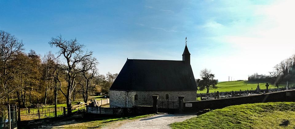 Church, Field, Green, Sky, Village, Landscape, France