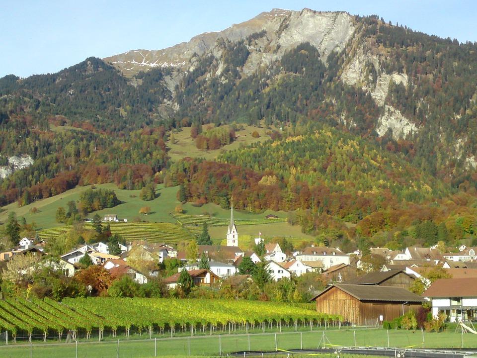 Village, Switzerland, Mountain, Church Tower, Autumn