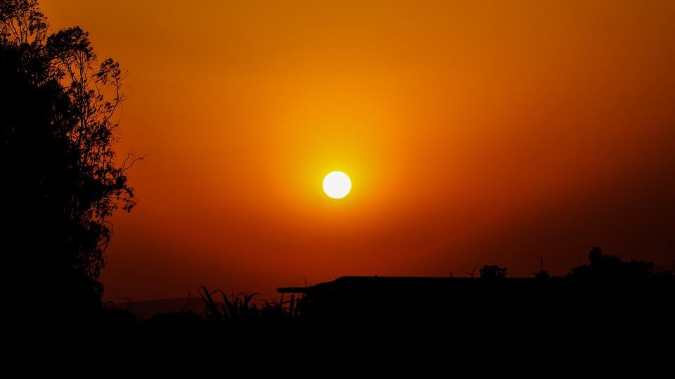 Sunset, Colorful, Indian, Village, Nature, Landscape