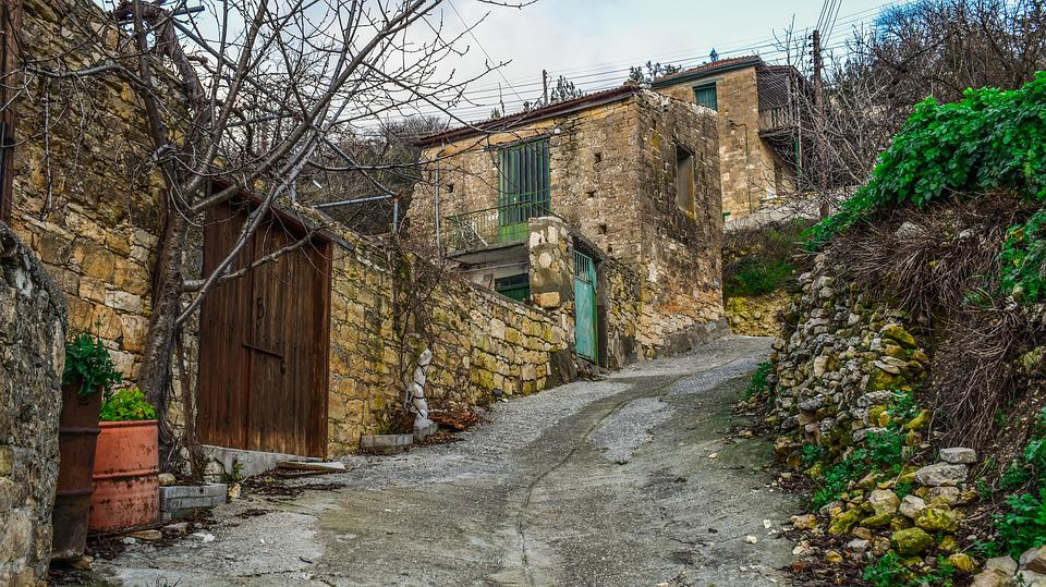 Cyprus, Arsos, Village, Street, Houses, Architecture