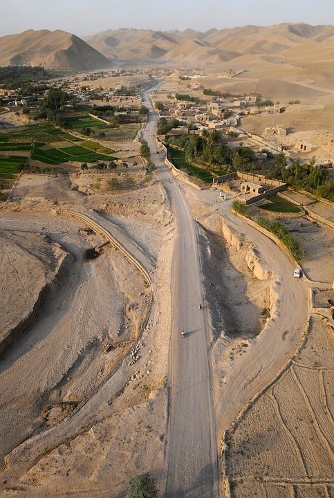 Afghanistan, Aerial View, Mountains, Desert, Village