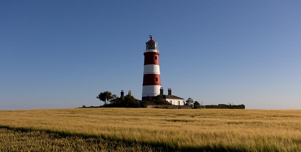 Lighthouse, Field, Beacon, Village, Coast, Landscape