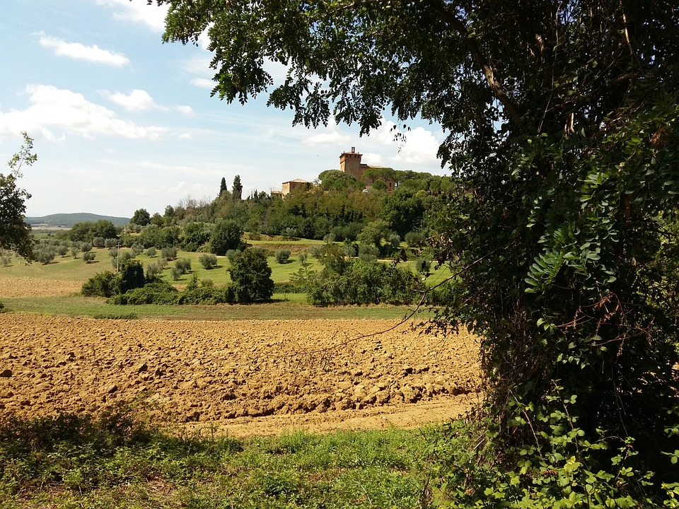 Tuscany, Italy, Field, Panorama, Village, Countryside