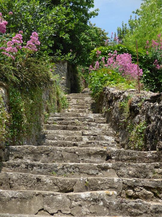 Village, Staircase, Pierre, Old Village, Flowers