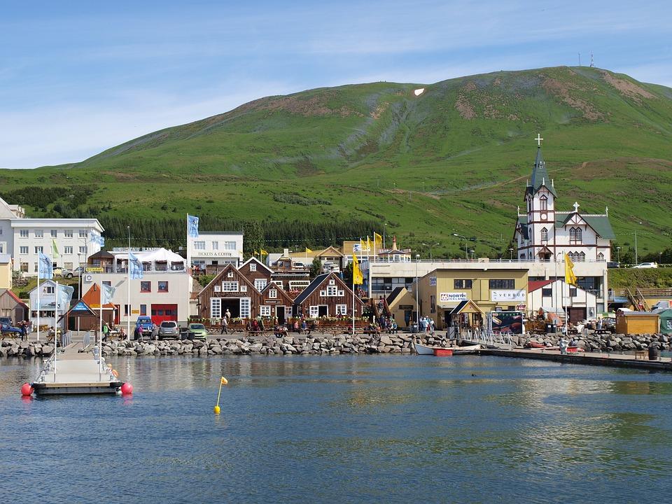 Iceland, Port, Water, Village, Church