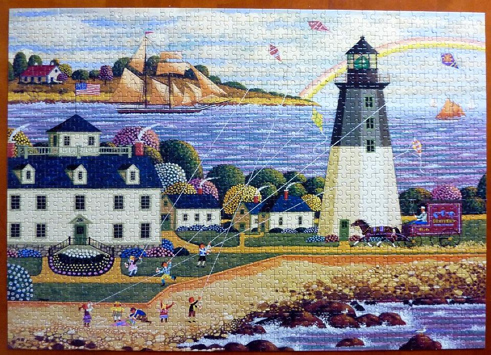 Puzzle, Lighthouse, Colorful, Sea, Village, Coast