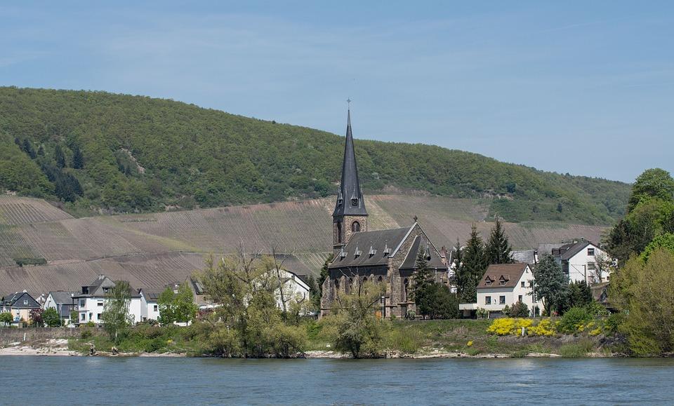 River, Rhine Valley, Village, Church, Vineyards, Waters