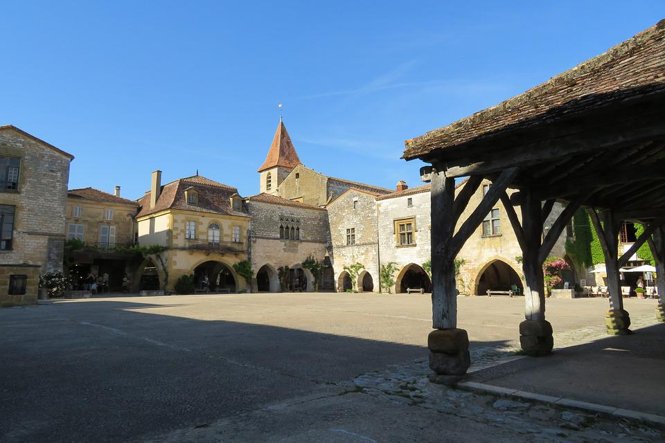 Monpazier, Village, French, France, Old, Stones, Hall