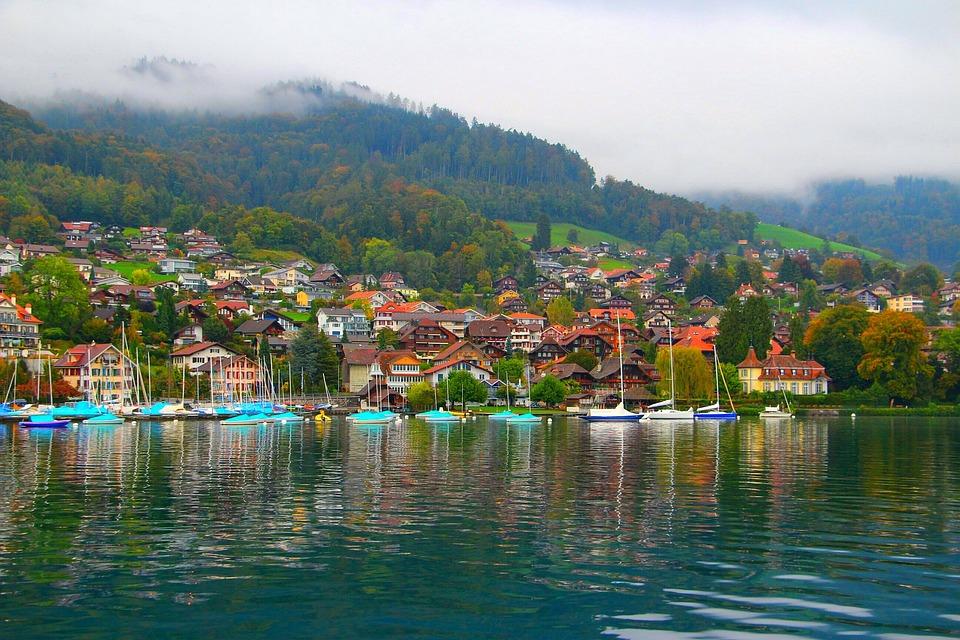 Village, Lake Thun, Switzerland, Blue Lake, Calm, Cool