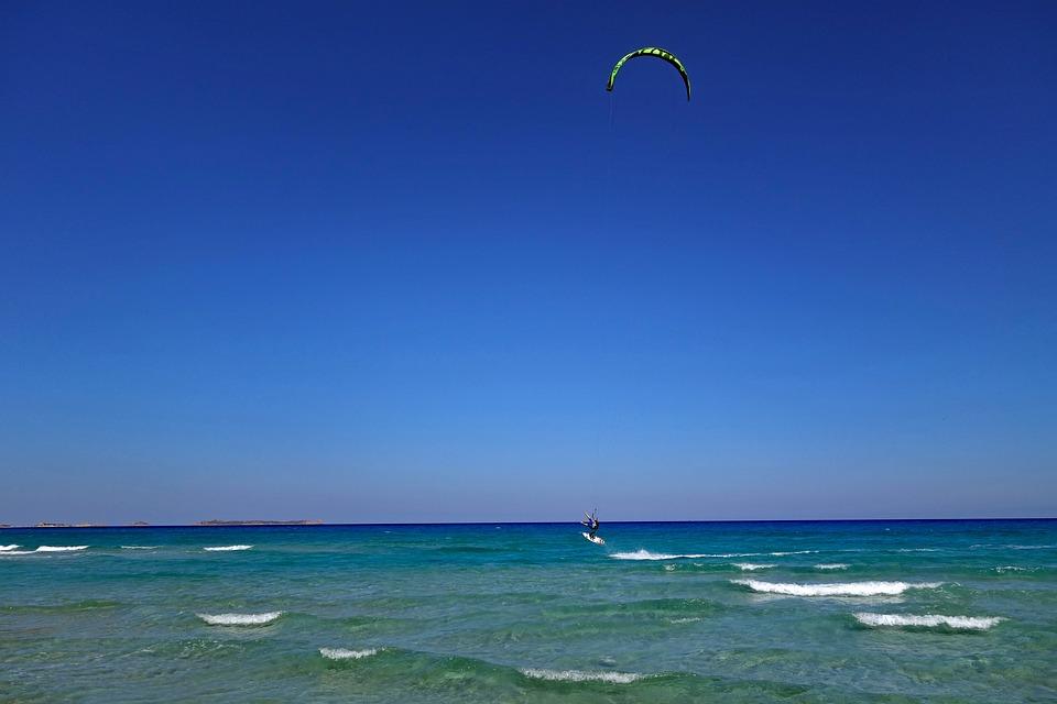 Sardinia, Kite Surfing, Kitesurfer, Villasimius