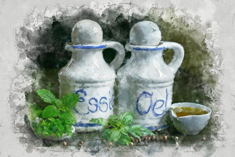 Oil And Vinegar, Oil, Vinegar, Salad Dressing, Herbs