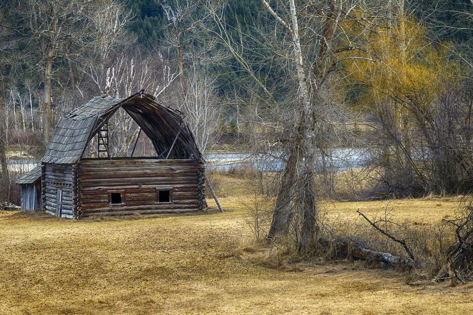 Old, Wooden, Barn, Vintage, Antique, Log, Landscape