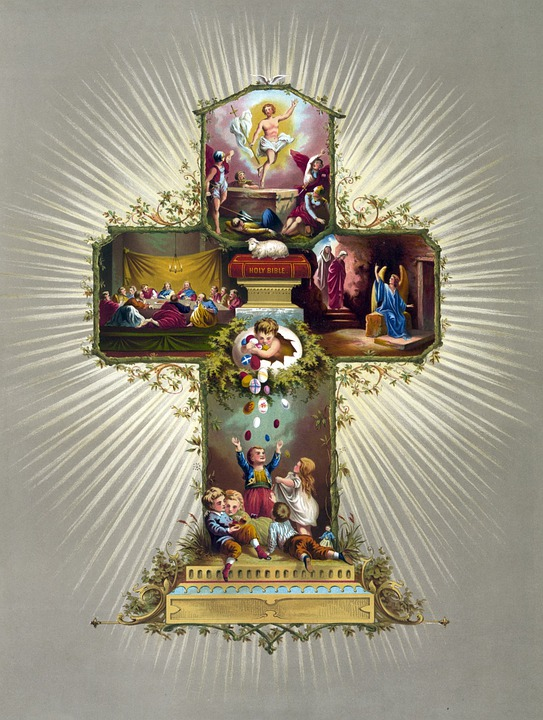 Easter, Card, Vintage, Cross, Religious, Beautiful