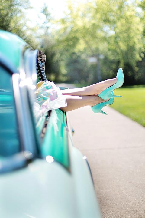 Woman's Legs, High Heels, Vintage Car, Turquoise, 1950s