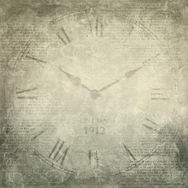 Scrapbook, Paper, Texture, Vintage, Clock, Letters