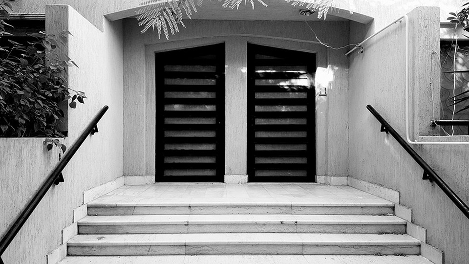 Building, Gate, Outdoors, Black, And, White, Vintage
