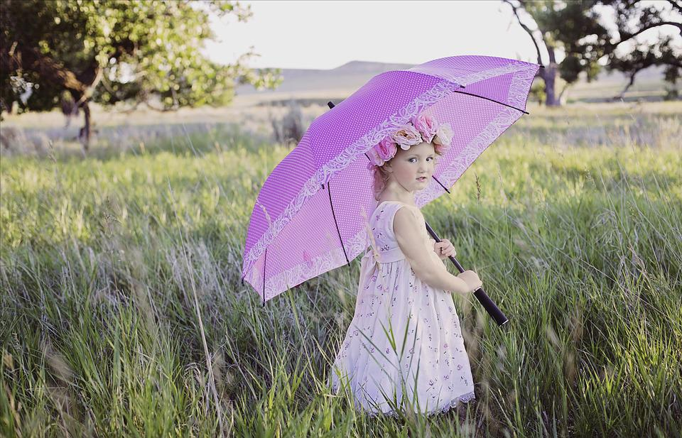 Summer, Umbrella, Sunny, Outdoor, Girl, Vintage