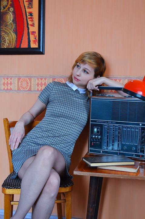 Girl, Interior, Room, Radio, Retro, Vintage, 1960, 60s