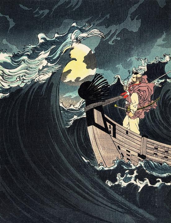 Sea, Ocean, Woodcut, Man, Japanese, Artwork, Vintage