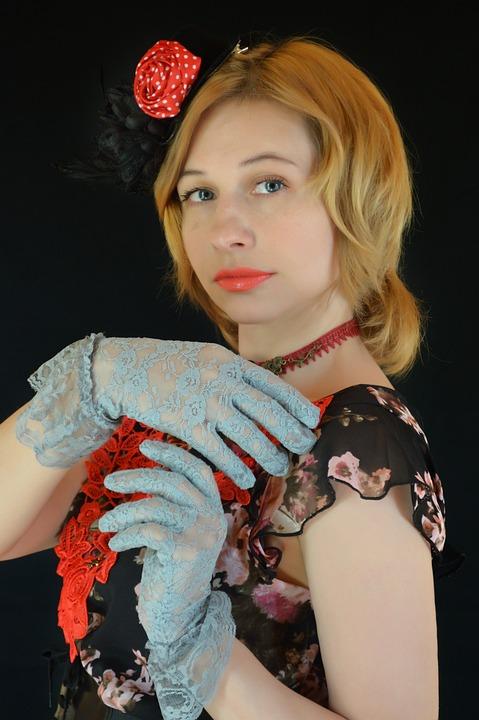 Woman, Retro, Vintage, Collar, Lace, Gloves, Pattern