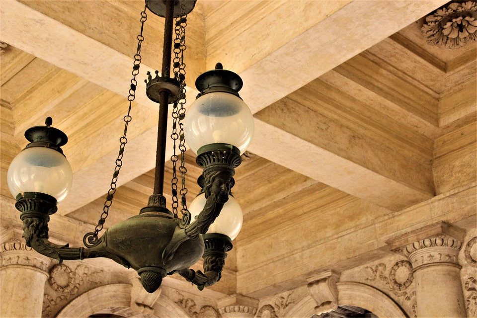 Chandelier, Wood, Ceiling, Metal, Vintage, Old, Black