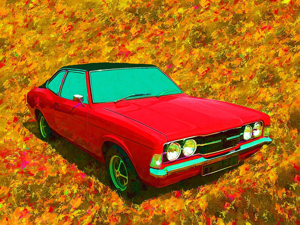 Ford, Cortina, Car, Art, Auto, Retro, Vintage, Old, Red