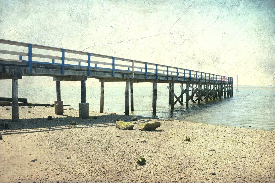 Crescent Beach, Pier, Vintage, Old, Tourism, Sea, Water