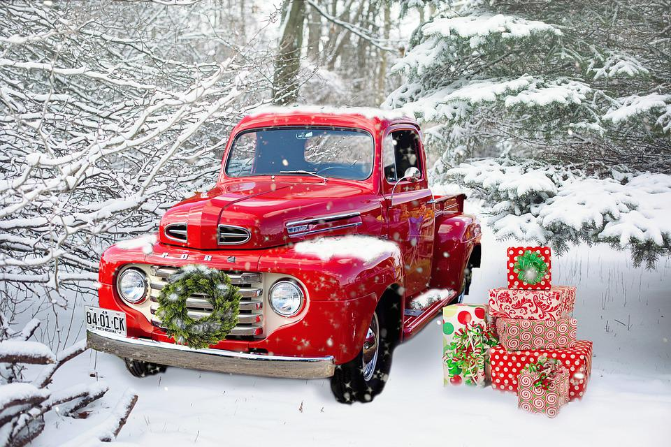 Truck, Red, Vintage, Christmas, Wreath, Gifts, Presents