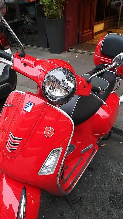 Scooter, Red, Vespa, Retro, Handlebar, Vintage, Moped