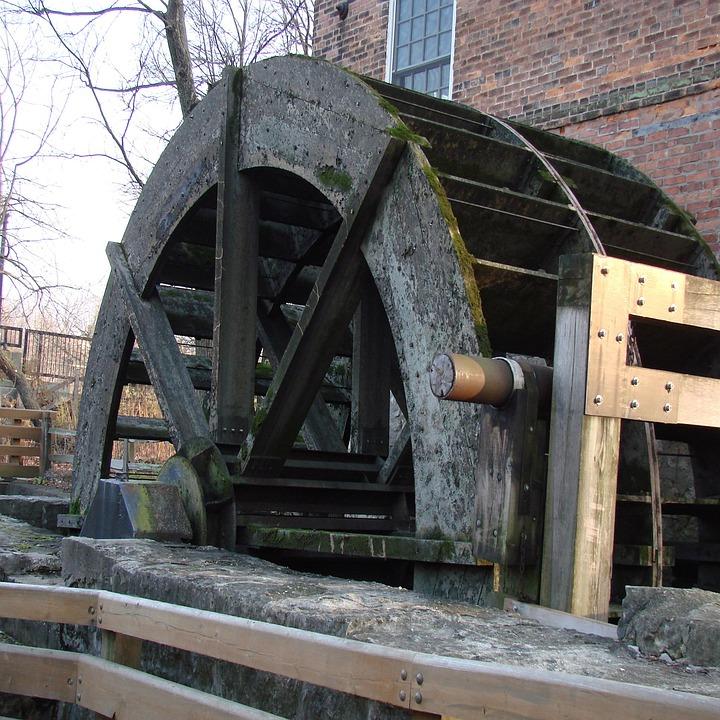 Water, Wheel, Mill, Vintage, Hub, Spokes, Wooden