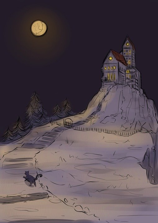 Night, Tale, Vintage, Drawing, Castle, Manor, Cat
