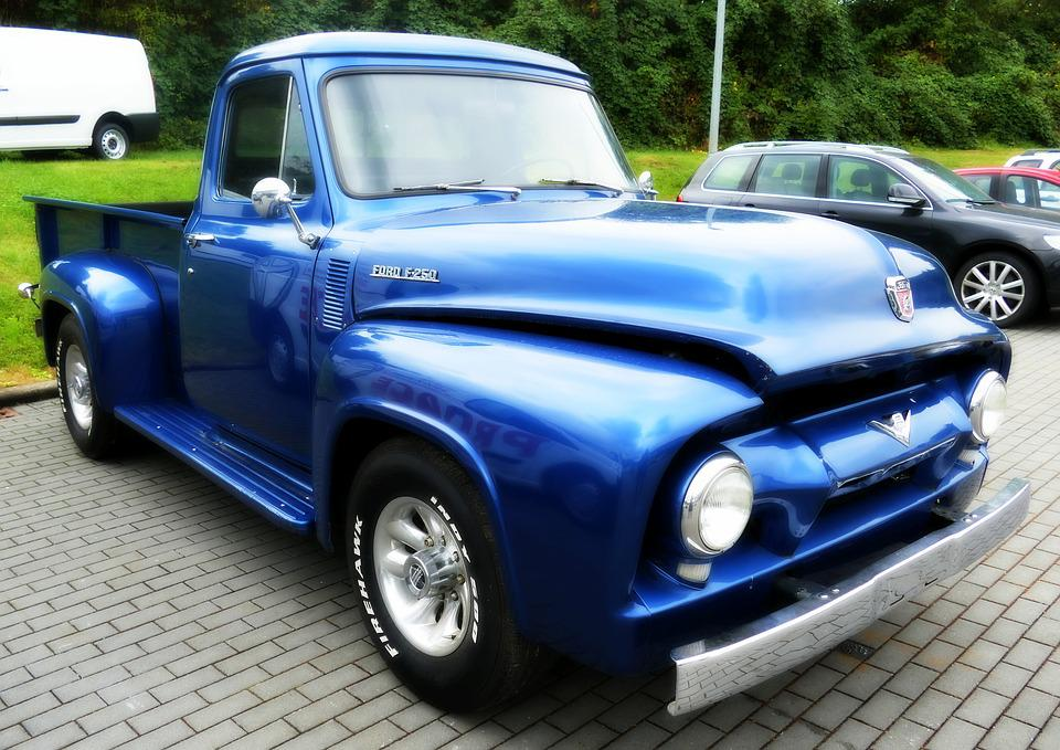 Free photo Vintage Us Car Pickup Old Oltimer Blue - Max Pixel