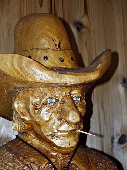 Wood Carving, Cowboy, Face, Artwork, Wooden, Vintage