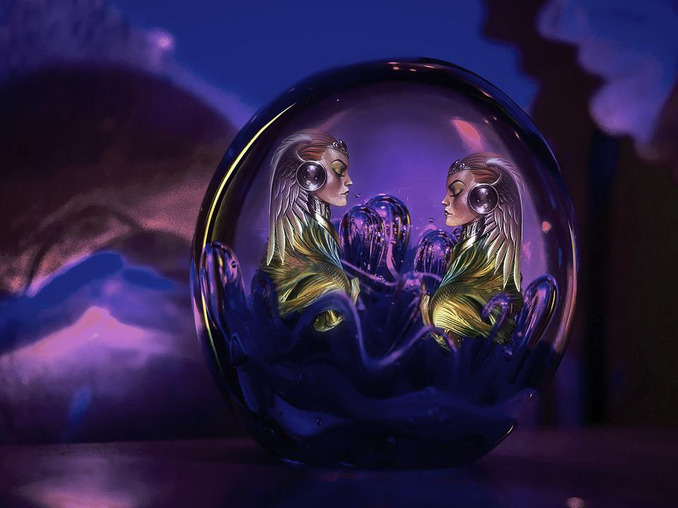 Women, Glass Ball, Purple, Violet, Fantasy, Atmospheric