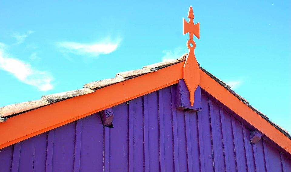 House, Landscape, Roof, Violet, Orange
