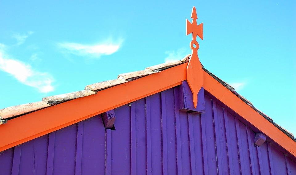House, Landscape, Roof, Violet, Orange