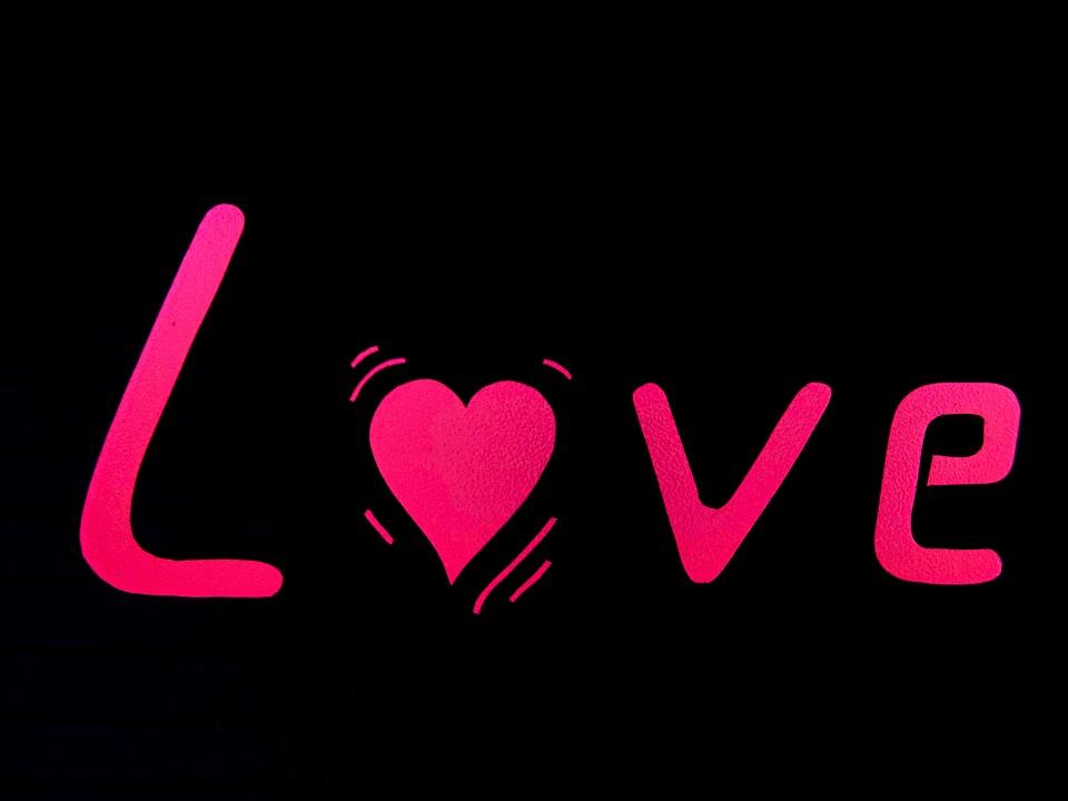 Word, Text, Heart, Herzchen, Love, Violet